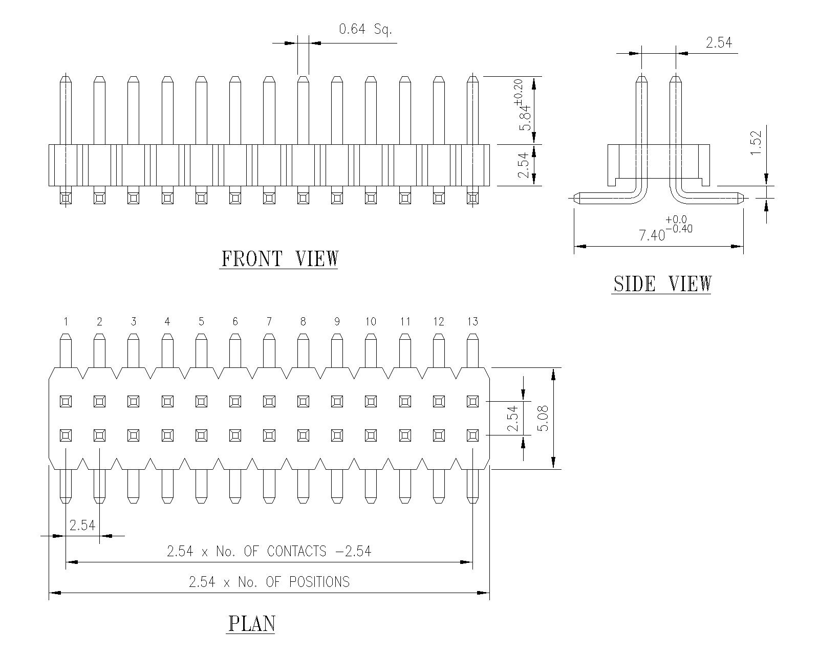 2 54mm Pitch Pin Header Surface Mount Double Row P9105