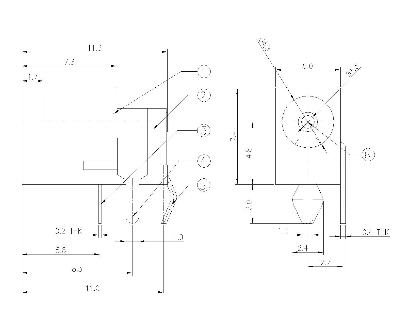 u00d82 0mm dc power jack with 1pin kink  right angle pdcj05