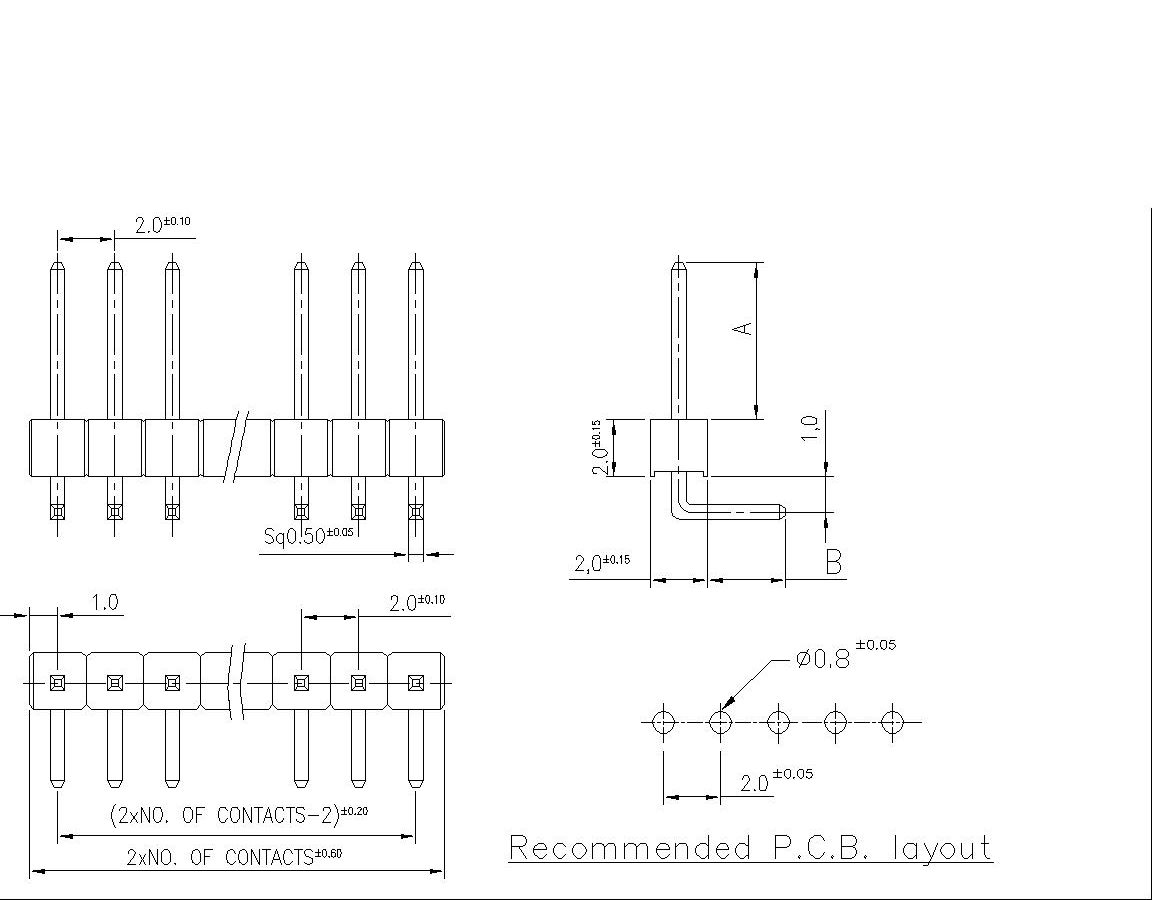 pin header  single row right angle  p9112a