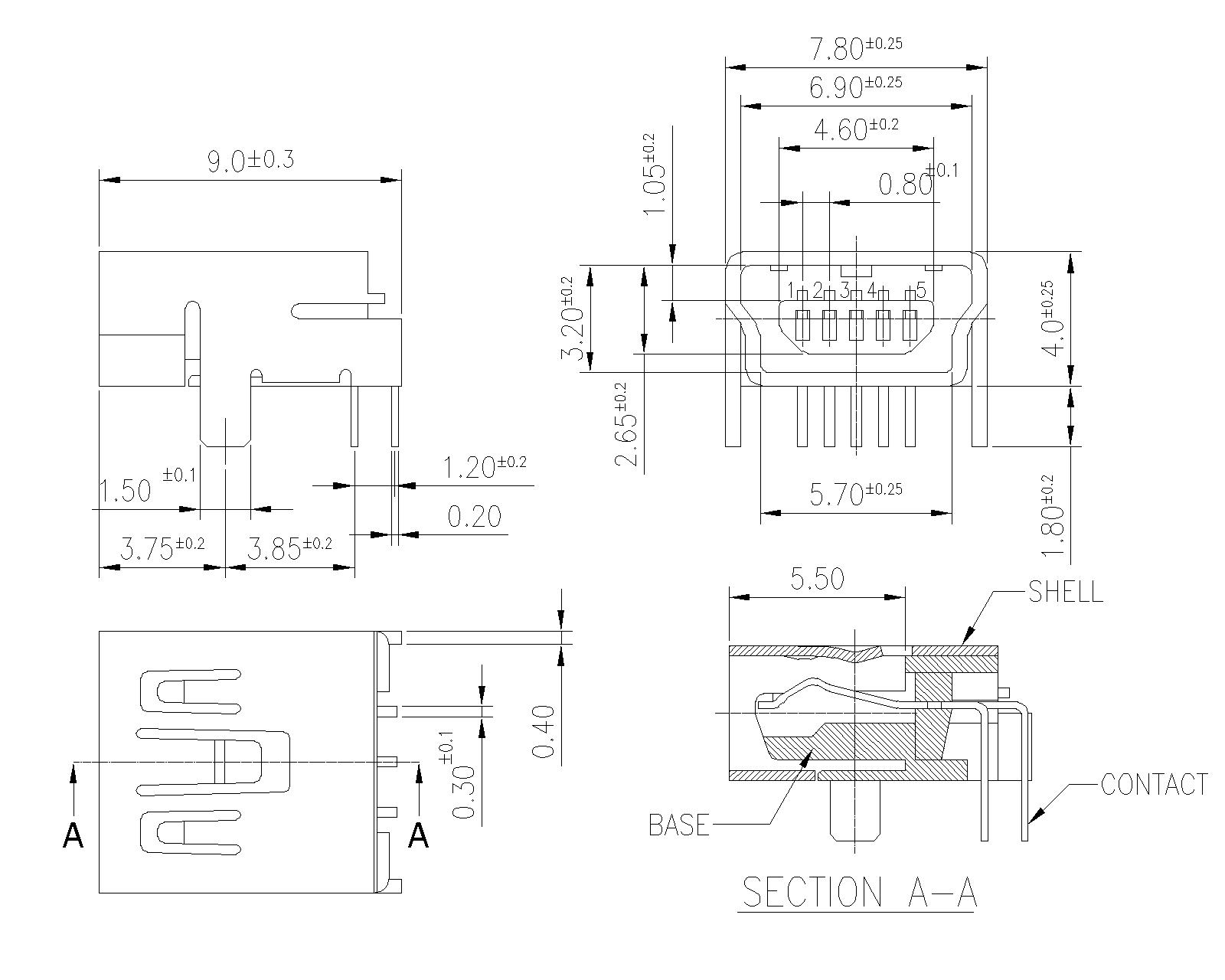 Mini Usb B Type Right Angle P707mb Protectron Schematic
