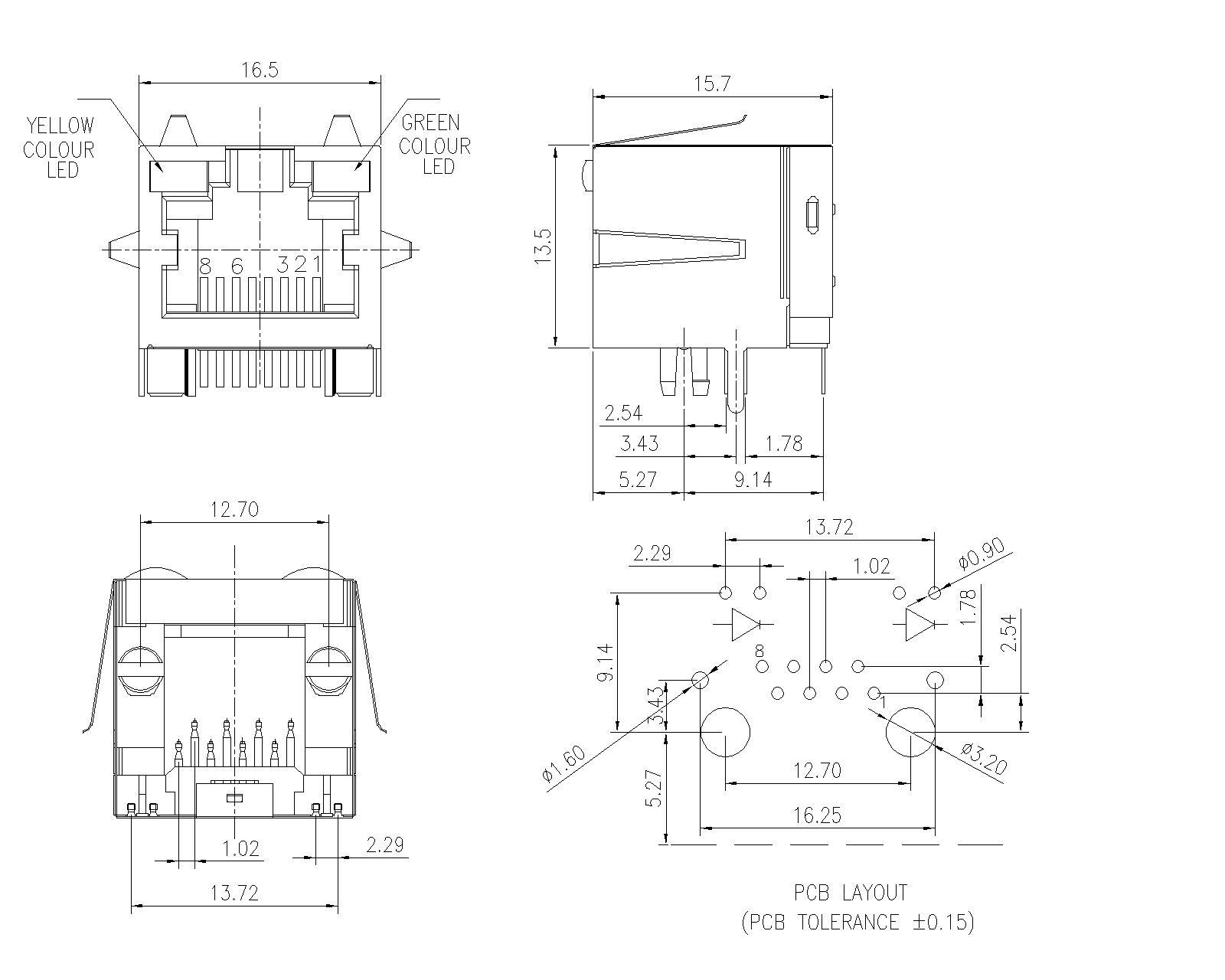 modular jack shielded  single port side entry with led
